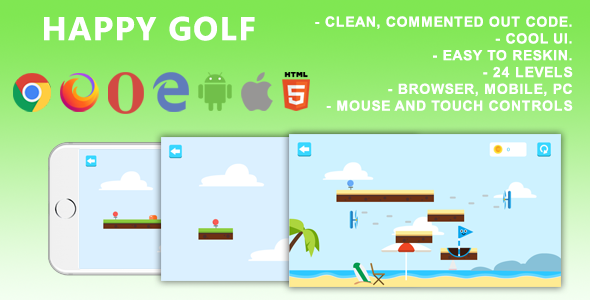 ✌Happy Golf. Mobile, Html5 Game. .c3p (Construct 3) Nulled