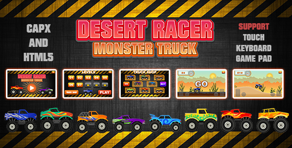 ✅ Desert Racer Monster Truck (CAPX and HTML5) Racing Game Nulled
