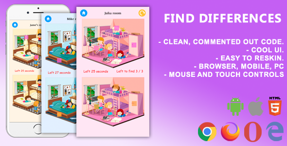✨Find Differences. Mobile, Html5 Game .c3p (Construct 3) Nulled