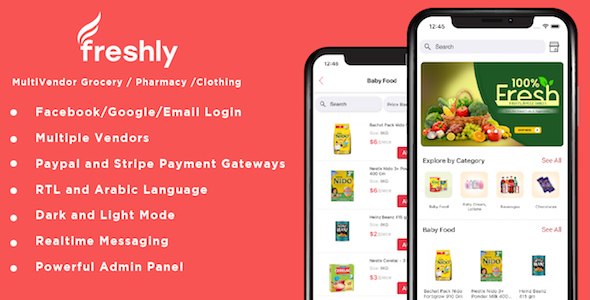 ✌Freshly IOS- Native Multi Vendor Grocery, Food, Pharmacy, Delivery Mobile App with Admin Panel Nulled