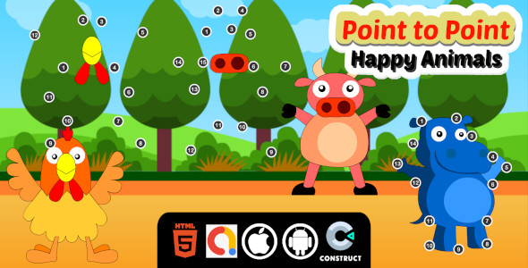 ✌Point to Point Happy Animals Construct 3 Educational kids Game with Admob for Web And Mobile Nulled