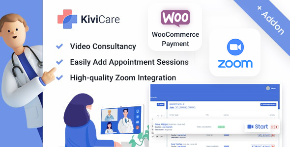 ✨Kivicare – Telemed And WooCommerce Payment Gateway (Add-on) Nulled