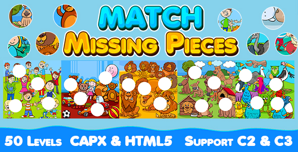 ✅ Match Missing Pieces Game (CAPX and HTML5) Kids Learning Game with 50 Levels Nulled