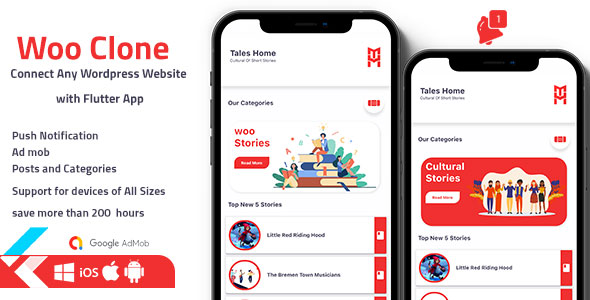 ✅ Flutter WordPress Clone App – Ios and Android Application Nulled