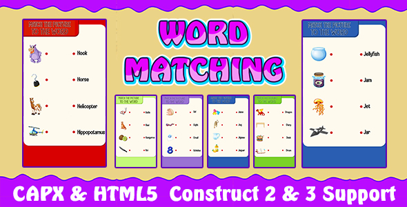 ✨Word Matching Game (CAPX and HTML5) Kids Learning Game Nulled