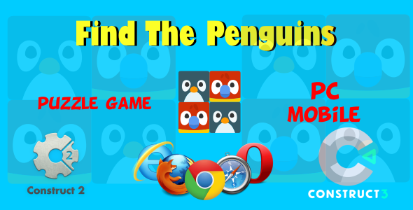 ✨Find The Penguins HTML5 Game (Include CAPX, c3p, Construct 2,3 Source code) Nulled