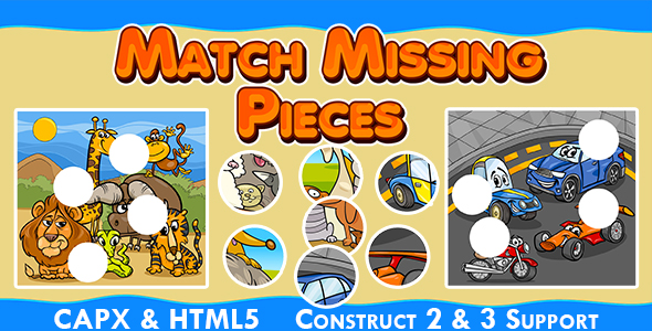 ✌Match Missing Pieces Game (CAPX and HTML5) Kids Learning Game Nulled