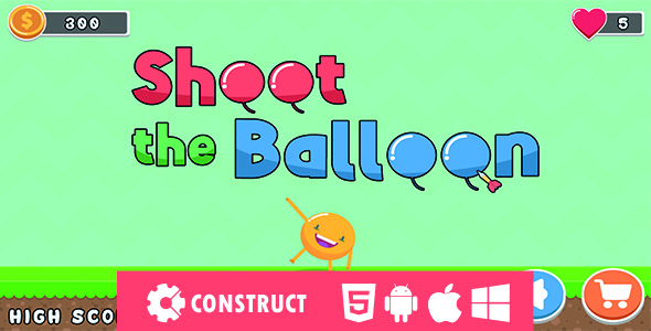 ✌Shoot The Balloon – HTML5 Mobile Game Nulled