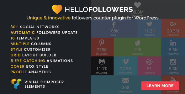 ✅ Hello Followers – Social Counter Plugin for WordPress Nulled