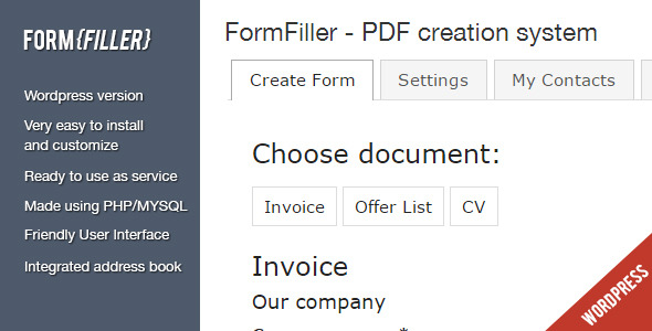 ✌FormFiller – WordPress documents creation system Nulled