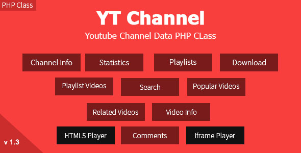 ✌YT Channel – YouTube Channel And Video Details API V3 PHP Class Nulled