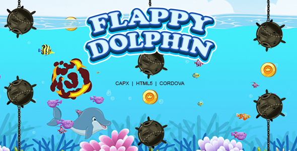✅ Flappy Dolphin Game (HTML5 | CAPX | Cordova) Nulled