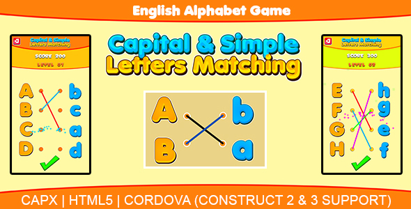 ✨Capital & Simple Letters Matching (HTML5 | CAPX | Cordova) Kids Learning Game Nulled