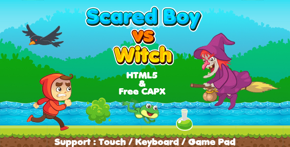✅ Scared Boy vs Witch (HTML5 | CAPX | Cordova) Running Game Nulled