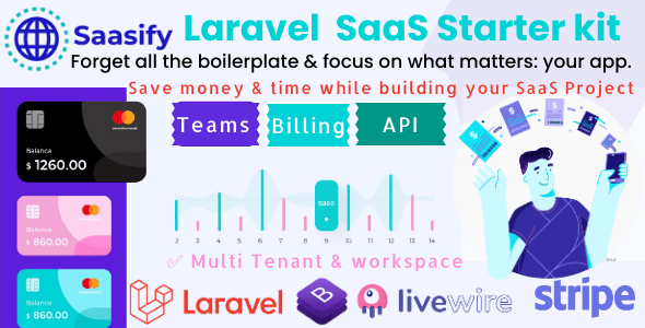 ✅ Saasify, advance Laravel SaaS Starter kit Nulled