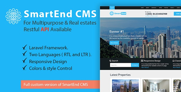 ✨SmartEnd CMS for multipurpose & real estate with Restful API Nulled