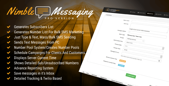 ✅ Nimble Messaging Bulk SMS Marketing Application For Business Pro Version Nulled