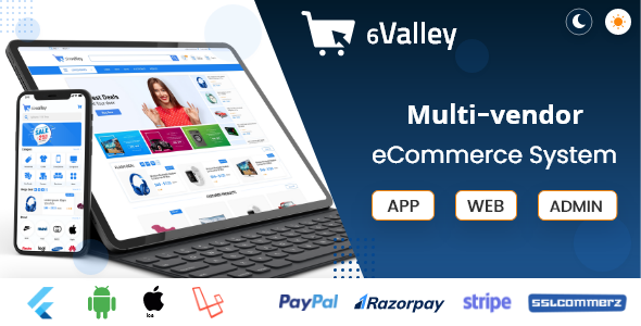 ✅ 6valley Multi-Vendor E-commerce – Complete eCommerce Mobile App, Web and Admin Panel Nulled