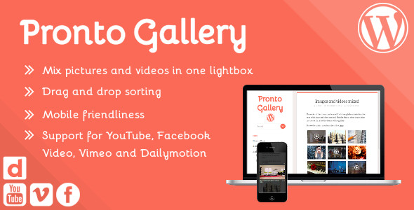 ✅ Pronto Gallery – sortable responsive image and video lightbox gallery for WordPress Nulled