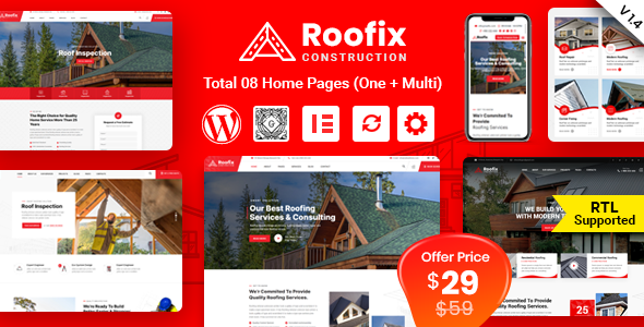 ✅ Roofix – Roofing Services WordPress Theme Nulled