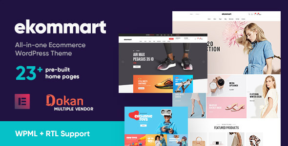 ✌ekommart – All-in-one eCommerce WordPress Theme Nulled