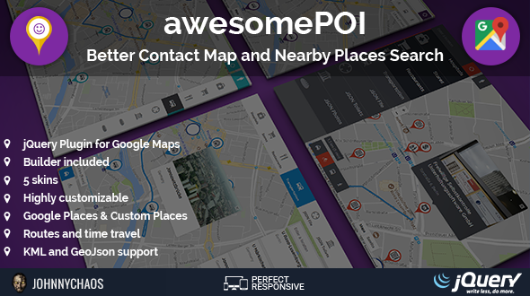 ✌awesomePOI – Better Contact Map and Nearby Places Search jQuery Plugin Nulled