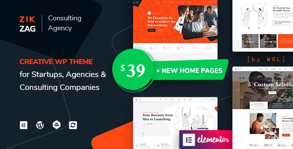 ✌ZikZag – Consulting & Agency WordPress Theme Nulled