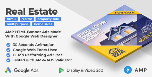 ✌Dream House – Animated AMP HTML Banner Ad Templates (GWD, AMP) Nulled