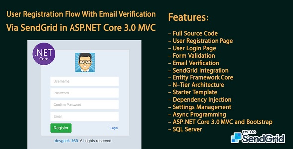 ✌User Registration Flow With Email Verification Via SendGrid in ASP.NET Core 3.0 MVC and Bootstrap Nulled