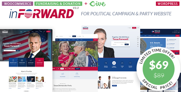 ✌inForward – Political Campaign and Party WordPress Theme Nulled