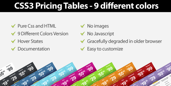 ✌Css3 Pricing Tables – 9 Different Colors Nulled