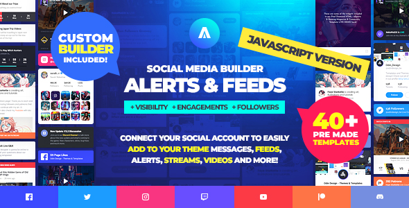 ✅ Asgard – Social Media Alerts & Feeds Javascript Builder – Facebook, Instagram, Twitch and more! Nulled