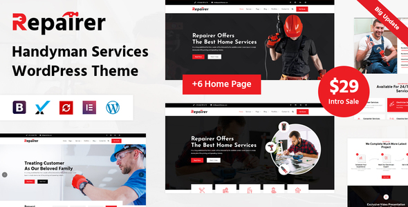 ✅ Repairer – Handyman Services WordPress Theme Nulled