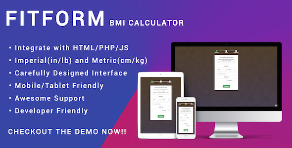 ✨Fitform BMI Calculator for HTML | JS | PHP – Responsive Nulled