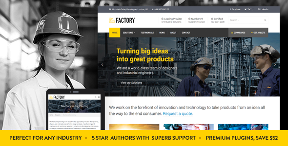 ✌Factory – Industrial Business WordPress Theme Nulled