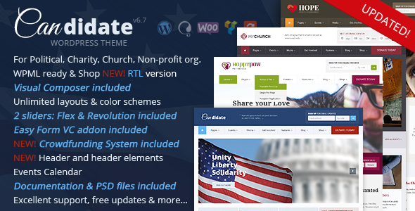 ✌Candidate – Political/Nonprofit/Church WordPress Theme Nulled