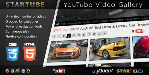 ✅ StarTube – YouTube Video Gallery Powered by jQuery Nulled